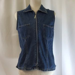 Bill Blass Jeanswear Jeans Zip Front Denim Vest Md